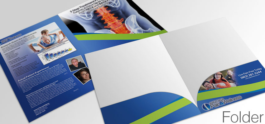 Folder for holding spinal decompression marketing materials